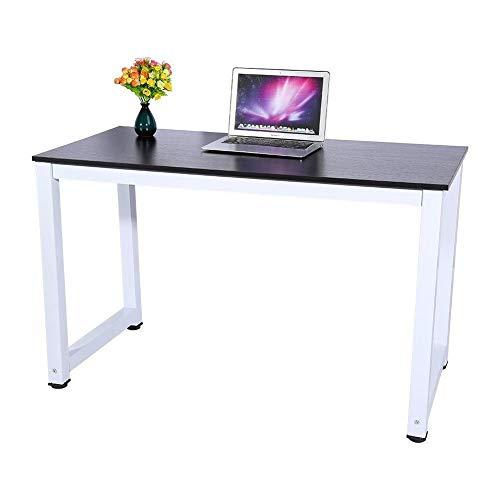 Black Computer Desk,Wooden Pc Gaming Corner Desk Computer Table Studying Reading Laptop Workstation Home Office Furniture ()