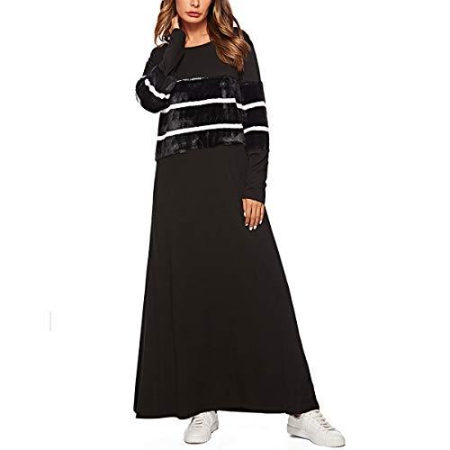 Las Black Vestido Mujeres Palabra De Remiendo line Cuello Musulmanas Xxl O Manga color A Rayas Longitud Size Larga ACwZqPC