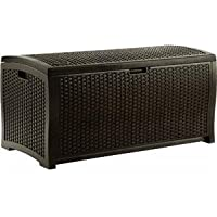 Suncast DBW9200 99-Gallon Mocha Wicker Resin Deck Box