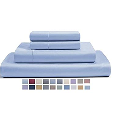 CHATEAU HOME COLLECTION 800-Thread-Count Egyptian Cotton Deep Pocket Sateen Weave King Sheet Set, Blue