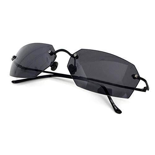 Matrix Square Sunglasses men Ultralight Rimless (Black, Black)
