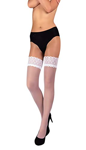 Back Seam Pantyhose Stockings - THIGH HIGH Sheer Lace Top Silicone Stockings Nylon Hosiery 20 Den Size S M L (L, White 04)