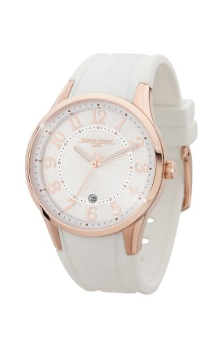 Jorg Gray JG1200-12 White Rose Gold Rubber Patterned 3 Hand Womens Watch