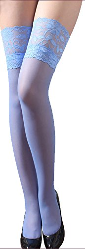 Top Opaque Lace (ONEFIT Knee High Opaque Lace Top Stockings Sheer Nylon Pantyhose Skyblue)