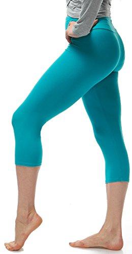 LMB Lush Moda Extra Soft Capri Leggings - Variety of Colors - Yoga Waist - Teal ()