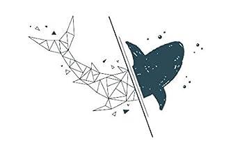 Etiqueta engomada del tatuaje Impermeable Pez ballena temporal ...
