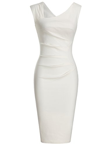 MUXXN Womens Vintage Low Cut Neck Package Hip Evening Party Dress (XL White)