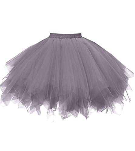 Dresstore Women's Short Vintage Petticoat Skirt Ballet Bubble Tutu Multi-Colored Gray S/M