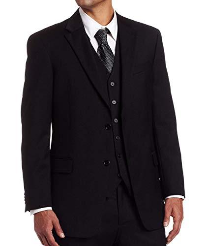 Tommy Hilfiger Mens 2 Button Side Vent Trim Fit 100% Wool Suit Separate Coat,  Black Solid, 40 Short