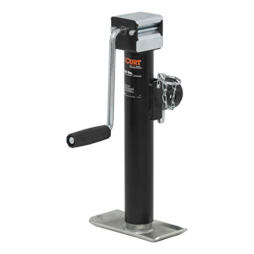 CURT 28354 Weld-On Pipe-Mount Swivel Trailer Jack Black 5,000 lbs, 10 Inches Vertical Travel