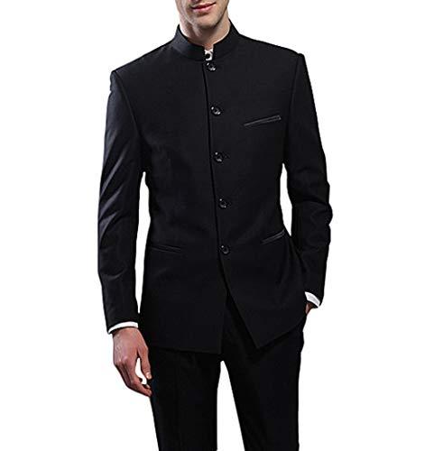 Giacca Uomo Nozze 6xl up Pantaloni Suit Nero Me Collare Abiti 2 Smoking Cinese Stand Da parte Partito vBtqOa