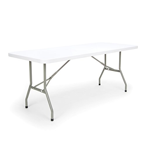 Essentials Multipurpose Folding Utility Table - Sturdy Card/Conference/Office/Craft Plastic Table, 30