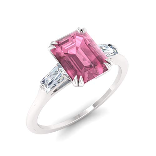 Diamondere Natural and Certified Pink Tourmaline and Diamond Baguette Engagement Ring in 14K White Gold | 0.67 Carat Three Stone Ring for Women, US Size 4