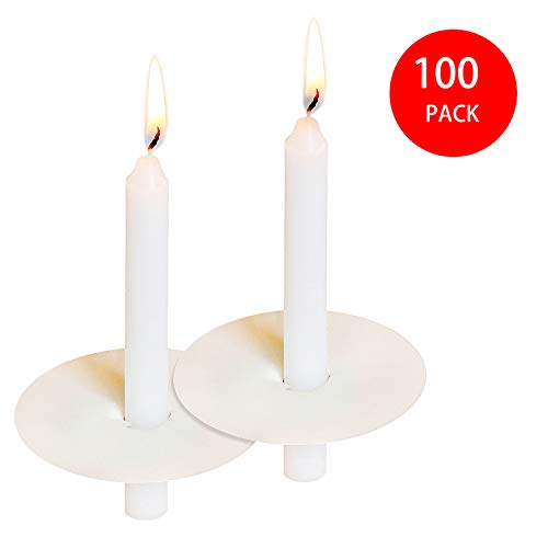 """YIH 100 Church Candles with Drip Protectors for Devotional Candlelight Vigil Service, Box of 100 Candles, Unscented White 5"""" H X 1/2"""" D"""