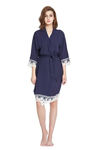 Women's Robe Soft Cotton Solid Color Kimono with Floral Lace Trim ,3/4 Sleeves (Small, Navy)