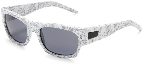 Heretic Sunglasses - Fox Men's Heretic Graphic Frame Sunglasses,Polished White W/All Over Memo Print Frame/Grey Lens,one size