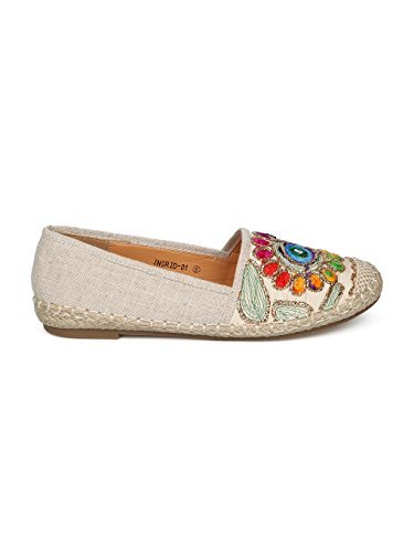 Women Linen Embroidered Nature Espadrille Flat HE51 - Beige Mix Media (Size: 10) by Alrisco (Image #1)