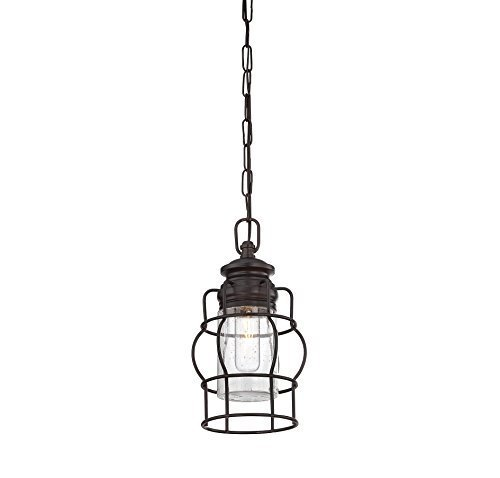 Bronze English Pendant (Savoy House Lighting 7-5061-1-13 Casual Lifestyle 1 Light Mini-Pendant and Clear Seedy Glass, English Bronze Finish by Savoy House Lighting)