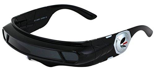 Futuristic Robot Costume (Futuristic Space Alien Costume Party Cyclops Shield Colored Mirror Mono Lens Wrap Sunglasses 147mm (Black, 147))