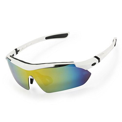 ODODOS Polarized Sports Sunglasses With Superlight Unbreakable Frame for Men Women WHITE,YELLOW