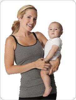 Glamourmom Nursing Bra Long Top,Black & Grey Stripe, XL (Glamourmom Nursing Bra Tank compare prices)