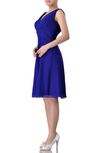 Adorona Dress Chiffon Knee Women's A Length Blau Kornblume Line rqxfTrYFw