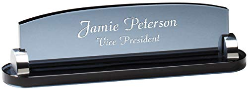 Personalized Smoked Glass Desktop Name Plate ()