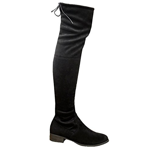 New Womens Ladies Over The Knee Thigh Boots Lace Up Flat Heel Zipped Shoes (40 / 7 UK, Black)