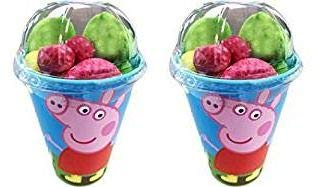 Assortment 2 x Peppa Pig Sweetie Cup - Selection of Fruit Flavour Jellies, Gummys and Mallows Inside a Reusable Cup!