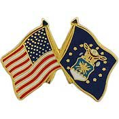 (US Air Force Crossed Flags Lapel Pin)