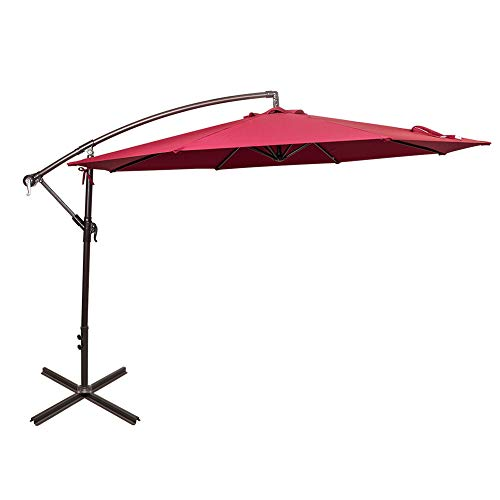 Sundale Outdoor 10 Feet Aluminum Offset Patio Umbrella with Crank and Cross Bar Set, Cantilever Umbrella for Deck, Garden, Backyard, 8 Steel Ribs, 100% Polyester Canopy Shade (Burgundy) (Offset Is What Umbrella An)