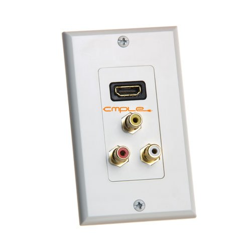 Cmple - HDMI Wall Plate with Composite Video / Audio RCA