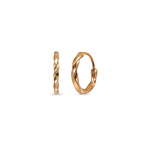 Rose Gold Flashed Sterling Silver Twist Tiny Small Endless 12mm Round Lightweight Unisex Hoop Earrings
