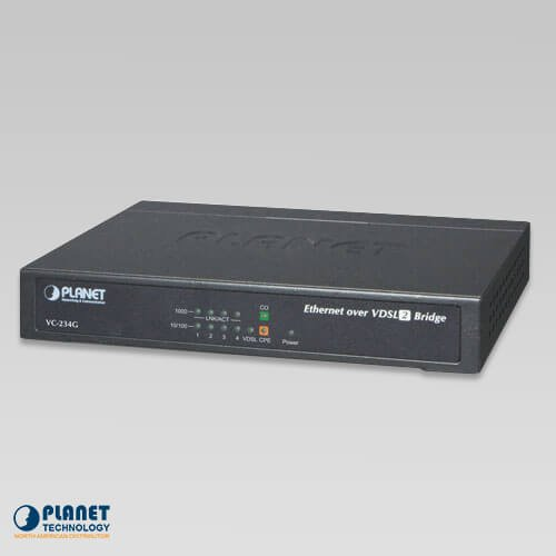 PLANET 4-Port 10/100/1000T Ethernet to VDSL2 Bridge (30a profile w/G.vectoring, RJ11) / VC-234G / by Planet