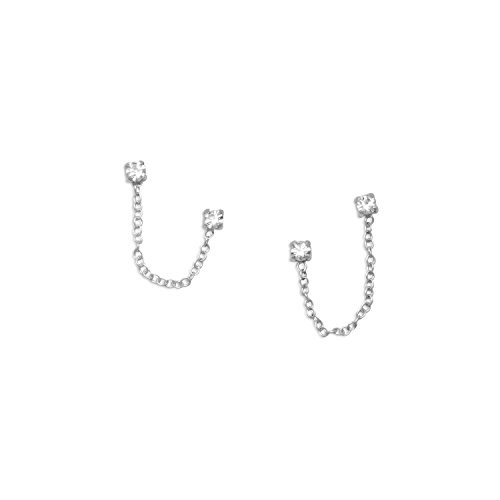 Crystal Chain Double Post Sterling Silver Earrings Chain Sterling Silver Post Earrings