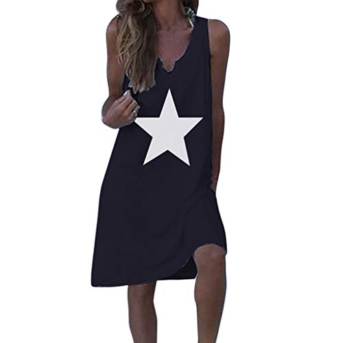 Gopeak  Women Cotton Loose Dress Plus Size T Shirts Star Printed Casual Tank Tops V-Neck Sleeveless Blouse Black