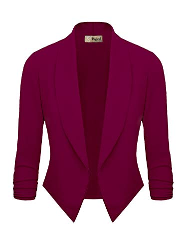 - Womens Casual Work Office Open Front Blazer JK1133 Magenta S