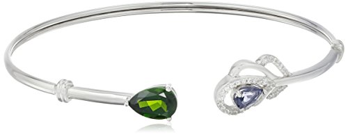 Sterling Silver Chrome Diopside/Iolite and Created White Sapphire