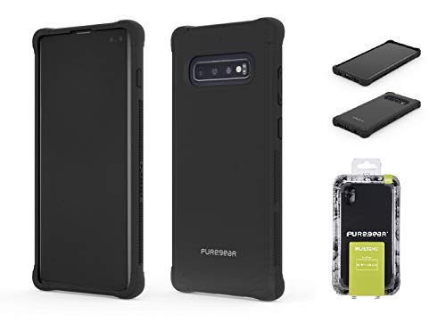 PureGear Dualtek Samsung Galaxy S10+ Plus Rugged Extreme Shock and Drop Protection Slim -Fit Cover Case| Mattle (Black) (Puregear Dualtek Extreme Shock)