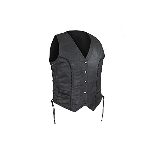 Womens Black Leather Motorcycle Vest With Braid on Front and Back Side Laces concealed carry (3XL, Black)