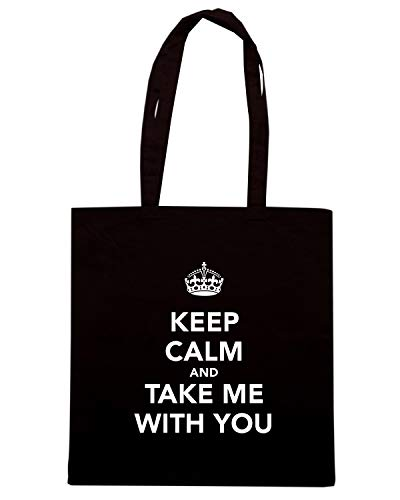 Speed Shopper TKC1074 KEEP Shirt Borsa CALM Nera AND TAKE ME WITH YOU qrwxqaA