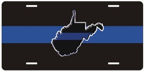 Amilly Personalized Custom Thin Blue Line West Virginia State License Plate 6'' x 12''metal License stainless steel License Fun License Plate Fun