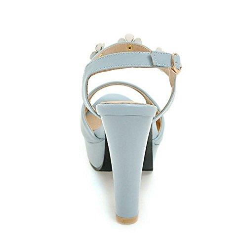 Tacco Donna A Moda Scarpe Blocco Peep Alto Plateau Blue TAOFFEN 990 Tacco Toe Fiore Sandali con con Fqwd17