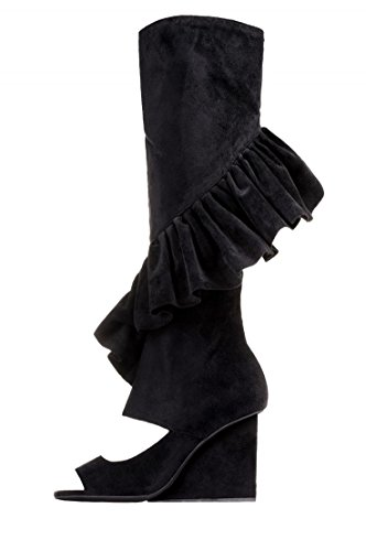 Wedge Boots Hullabaloo Open Campbell Ruffle Suede Black Jeffrey Toe T4qF18Ww