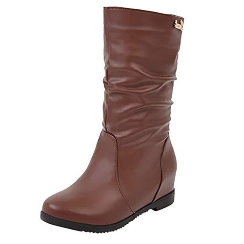 Women's Hidden Low Wedge Boots Wide Width Mid Calf Booties Fashion Outdoor Waterproof Chelsea Boots (US:7(39), Brown)