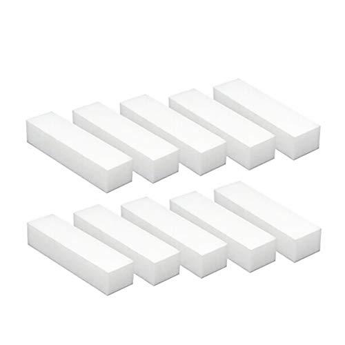 Square Sponge Nail File Art Buffer Buffing Sanding Block Grit Manicure Polisher Nail Art Tips Tool White 10Pcs ()