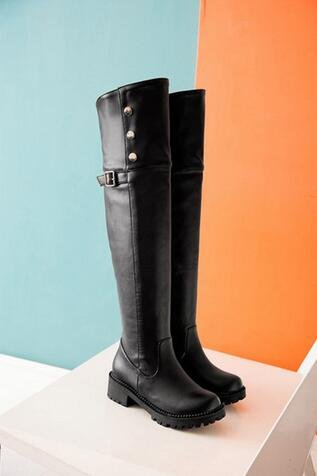 Damenschuhe 34 große 2016 Winter Yards Stiefel Overknee Schwarz und PU Stiefel Herbst 41 xvw8q0vBZ
