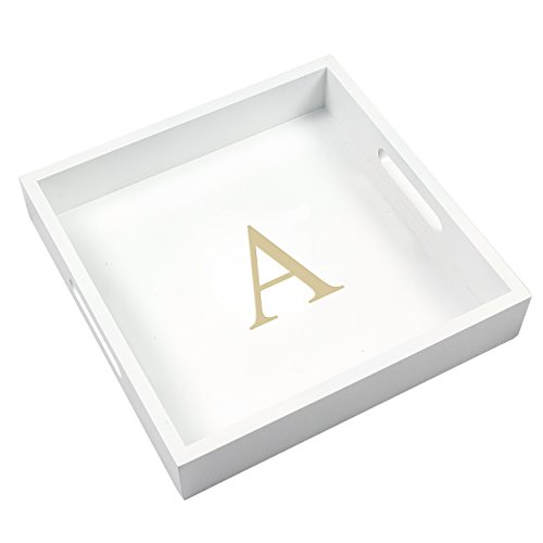 Personalized Lucite Trays - Cathy's Concepts Personalized Lacquer Tray, Monogrammed Letter A, White