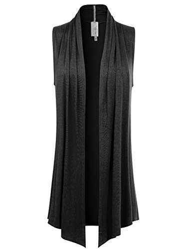 Instar Mode Women's [Made in USA] Open Front Draped Waterfall Sleeveless Shawl Cardigan Vest (S-3XL) Black M