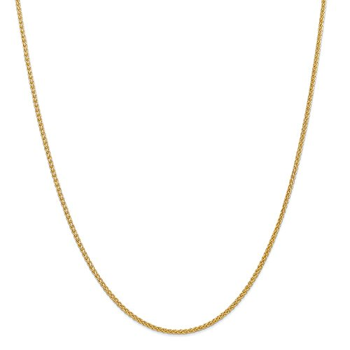 - 14k Yellow Gold 2mm Chain Necklace 18 Inch Pendant Charm Spiga Wheat Fine Jewelry Gifts For Women For Her